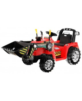 Elektrický traktor s lyžicou červený